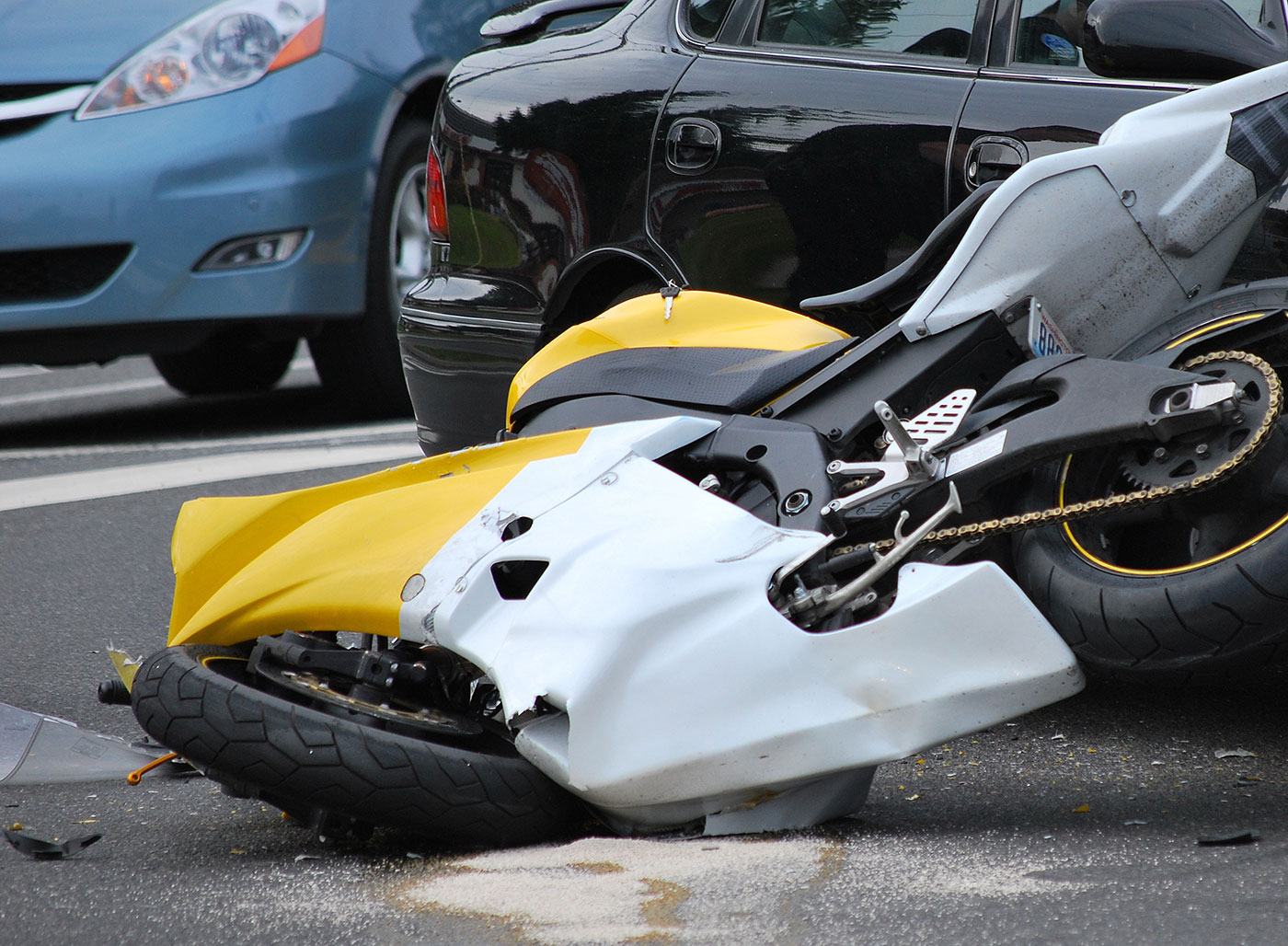 The scene of an accident involving a motorcycle, being investigated by motorcycle accident attorneys in Peoria IL